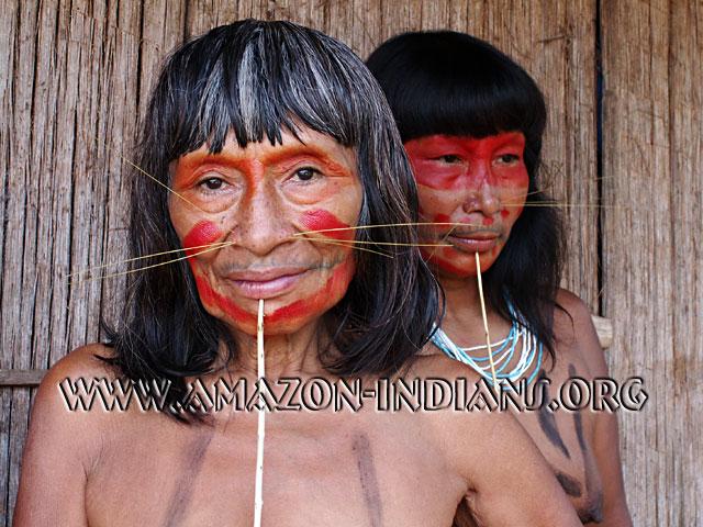 lip ornamentation younger women have longer sticks while older womenAmazon Native Women